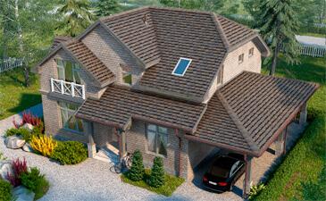 Дом облицованный фасадной плиткой Хауберк Бежевый кирпич