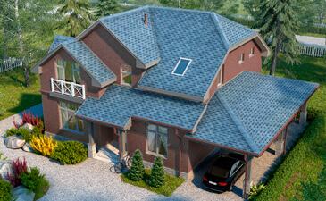 Дом облицованный фасадной плиткой Хауберк Обожжённый кирпич