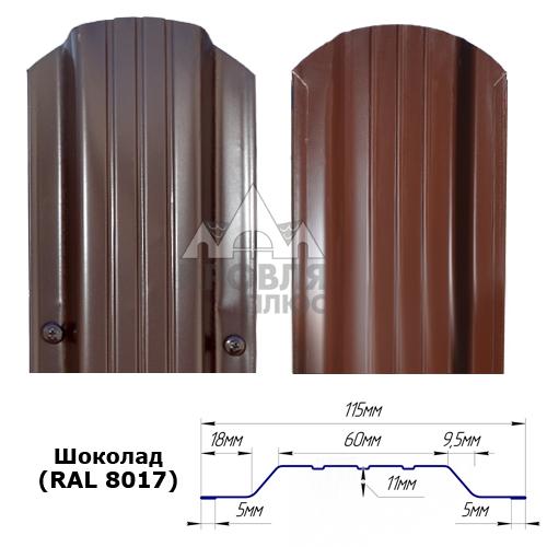 Штакетник двухсторонний 115 мм, шоколад (RAL 8017)