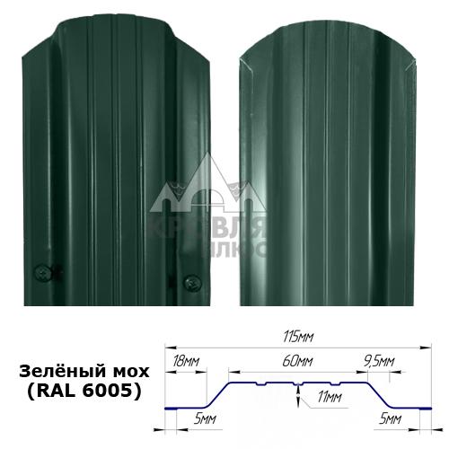 Штакетник двухсторонний 115 мм, зелёный мох (RAL 6005)