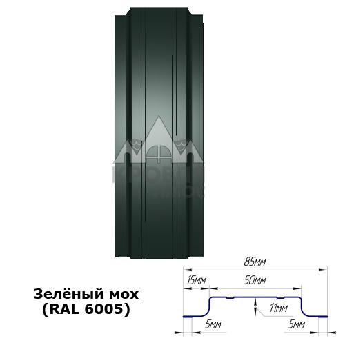 Штакетник двухсторонний 85 мм, зелёный мох (RAL 6005)