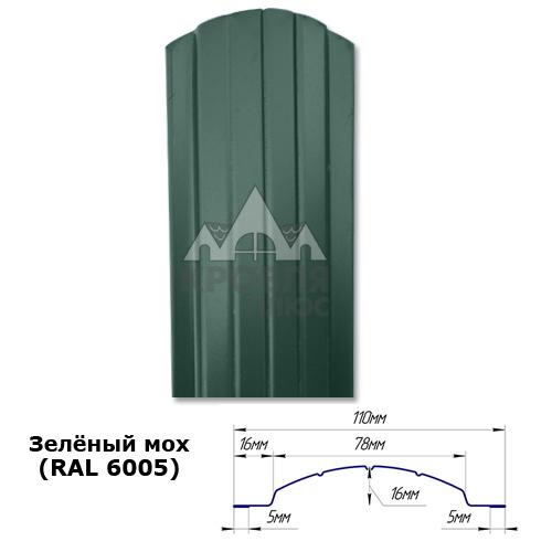 Штакетник двухсторонний 110 мм, зелёный мох (RAL 6005)