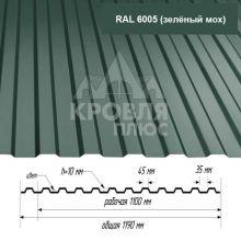 Лист НС-10 Зелёный мох (RAL 6005) 1,4*1,19