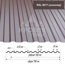 Лист НС-10 Шоколад (RAL 8017) 1,7*1,19