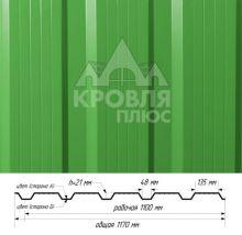 Профнастил НС-21 Зелёная мята (RAL 6029) полиэстер т. 0,45 мм
