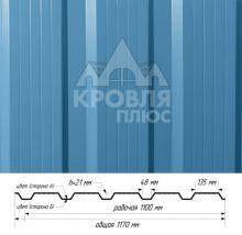 Профнастил НС-21 Небесно-голубой (RAL 5015) полиэстер т. 0,45 мм