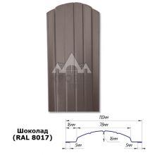 Штакетник полукруглый 11 см Шоколад  (RAL 8017)
