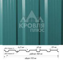 Профнастил НС-21 Морская волна (RAL 5021) полиэстер т. 0,45 мм