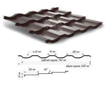 Металлочерепица Геркулес Шоколад (полиэстер, RAL 8017)