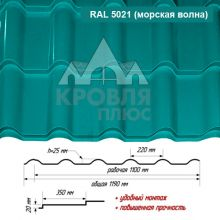 Банга Морская Волна RAL 5021 ш. 1.19 (1.10) м
