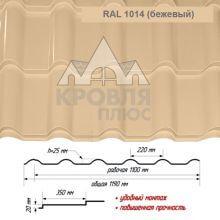 Банга Бежевый RAL 1014 ш. 1.19 (1.10) м