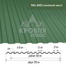 Лист НС-10 Зелёный лист (RAL 6002) 1,5*1,19