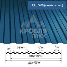 Лист НС-10 Синий сигнал (RAL 5005) 1,7*1,19