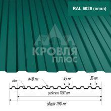Лист НС-10 Опал (RAL 6026) 1,6*1,19