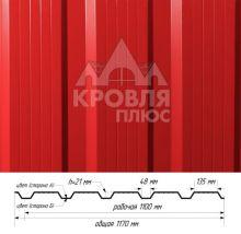 Профнастил НС-21 Красный (RAL 3020) полиэстер т. 0,45 мм