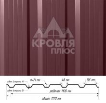 Профнастил НС-21 Красное вино (RAL 3005) полиэстер т. 0,45 мм