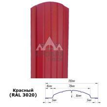 Штакетник полукруглый 11 см Красный (RAL 3020)
