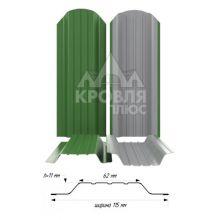 Штакетник широкий металлический Зелёный лист (RAL 6002)