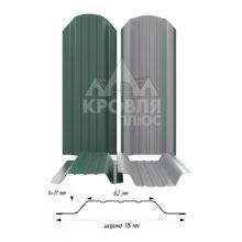 Штакетник широкий металлический Зелёный мох (RAL 6005)