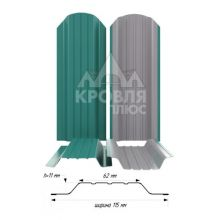 Штакетник широкий металлический Морская волна (RAL 5021)
