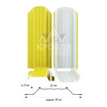 Штакетник широкий металлический Желтый (RAL 1018)