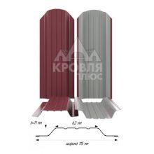 Штакетник широкий металлический Красное вино (RAL 3005)