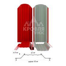 Штакетник широкий металлический Красный (RAL 3020)
