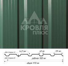 Профнастил НС-21 Зелёный лист (RAL 6002) полиэстер т. 0,45 мм