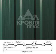 Профнастил НС-21 Зелёный мох (RAL 6005) полиэстер т. 0,45 мм